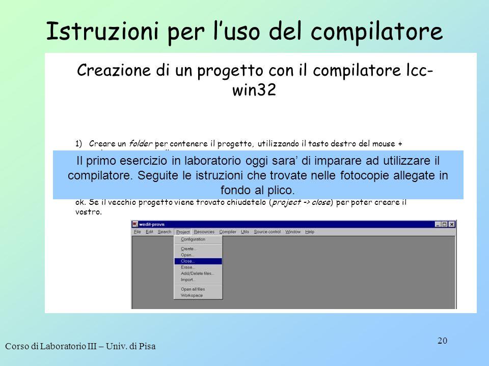 Istruzioni per l'uso del compilatore