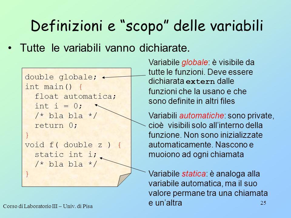 Definizioni e scopo delle variabili