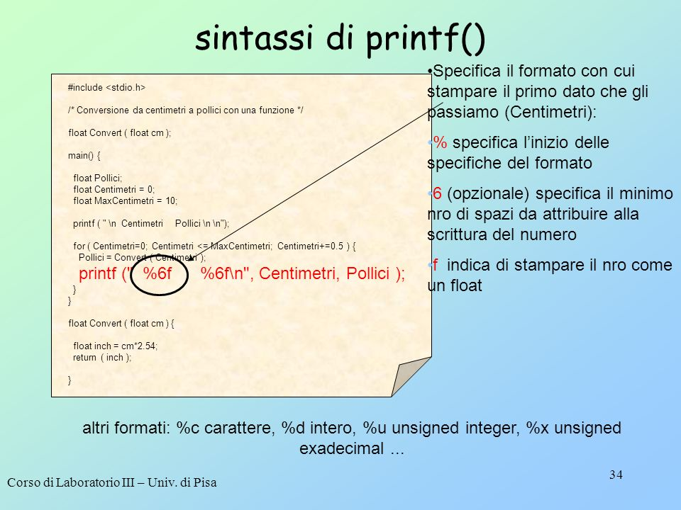 sintassi di printf() #include <stdio.h> /* Conversione da centimetri a pollici con una funzione */
