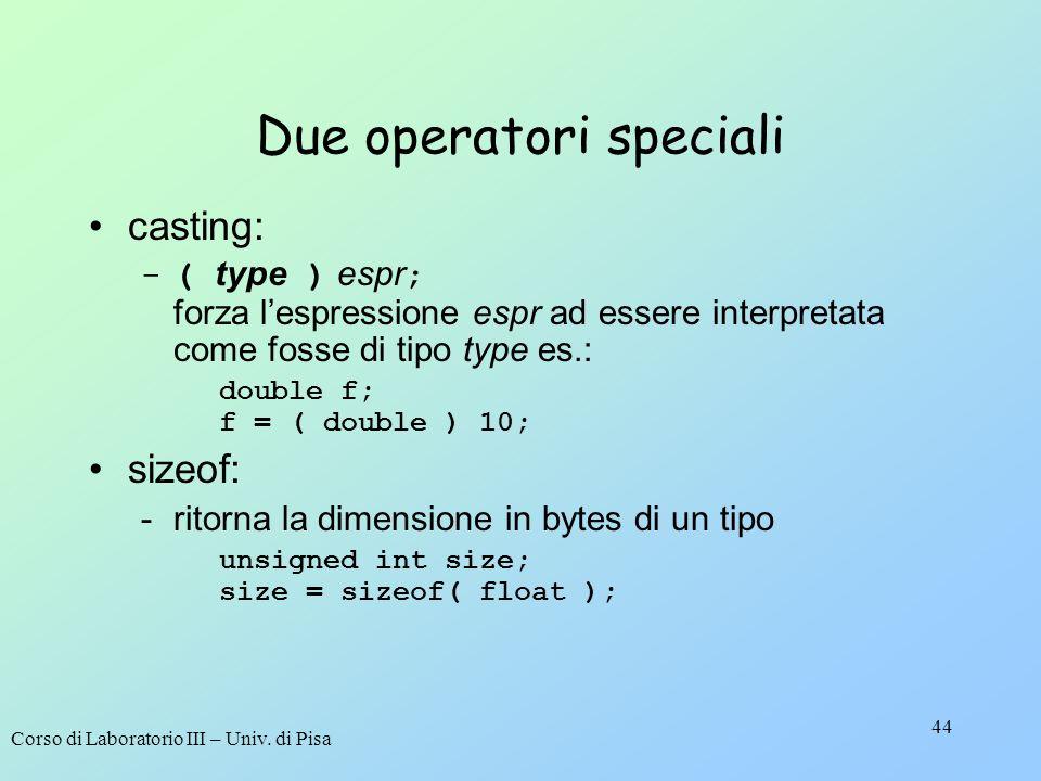 Due operatori speciali