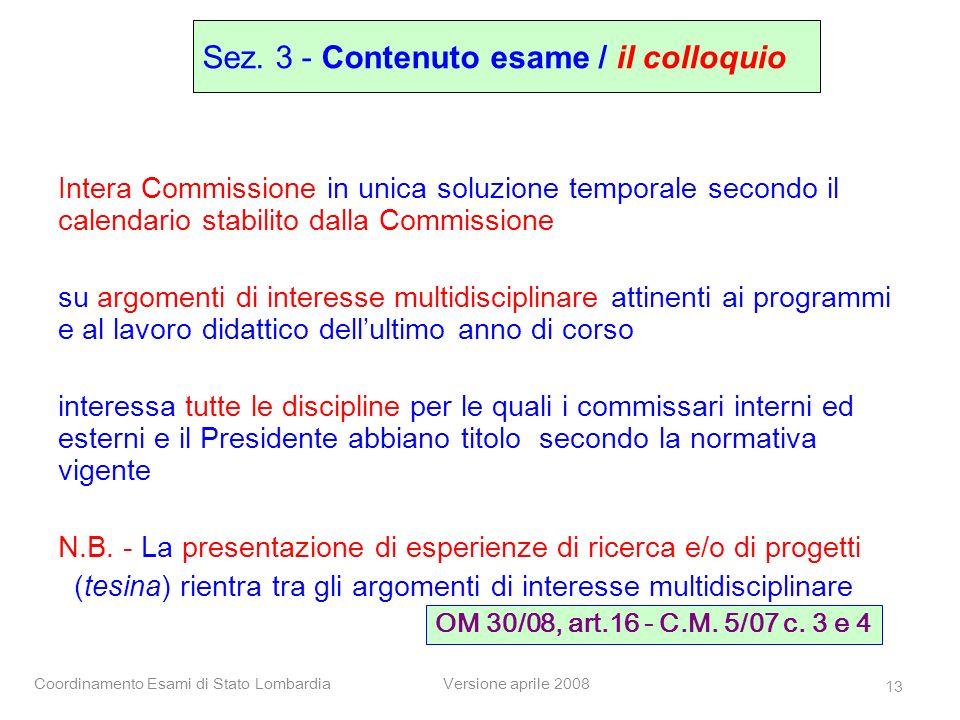 Sez. 3 - Contenuto esame / il colloquio