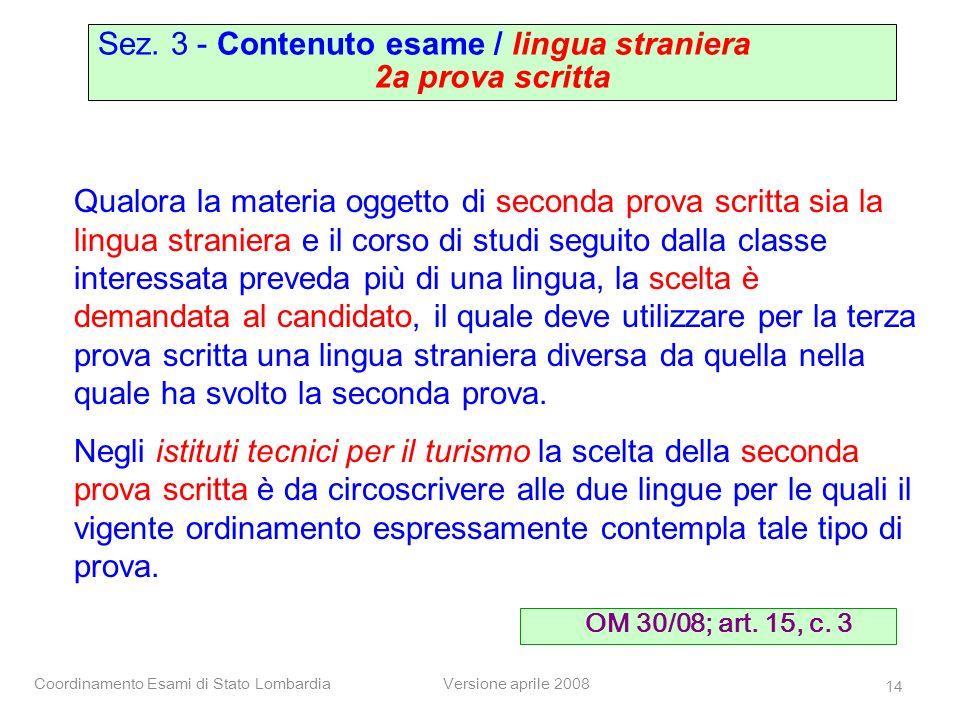 Sez. 3 - Contenuto esame / lingua straniera 2a prova scritta