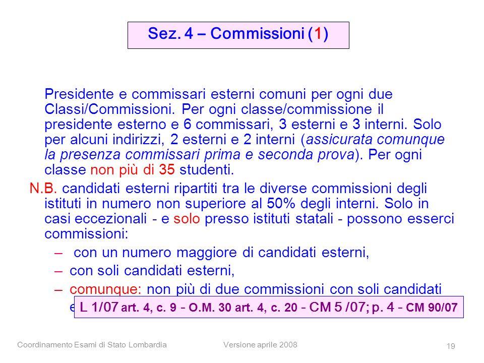 Sez. 4 – Commissioni (1)