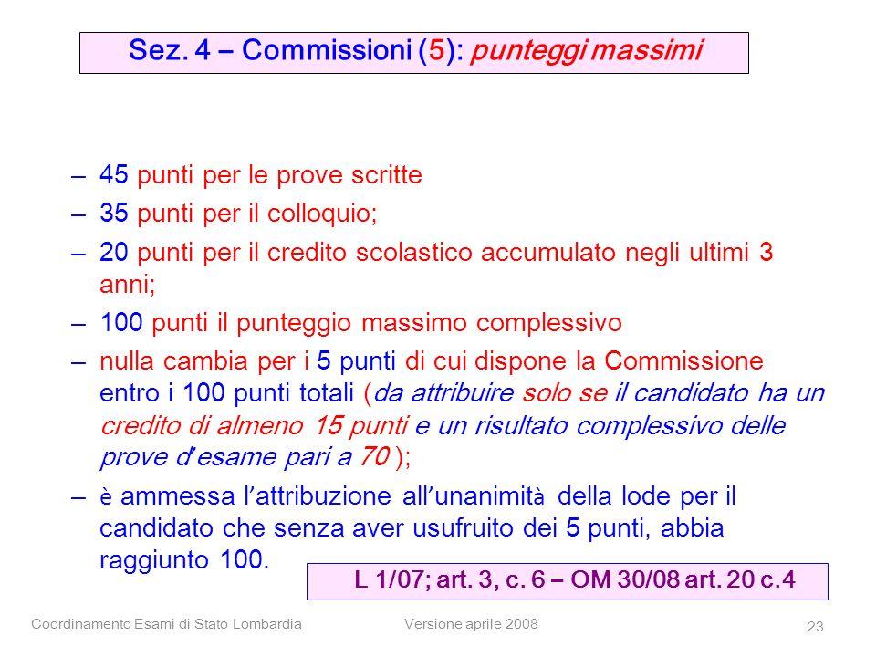 Sez. 4 – Commissioni (5): punteggi massimi