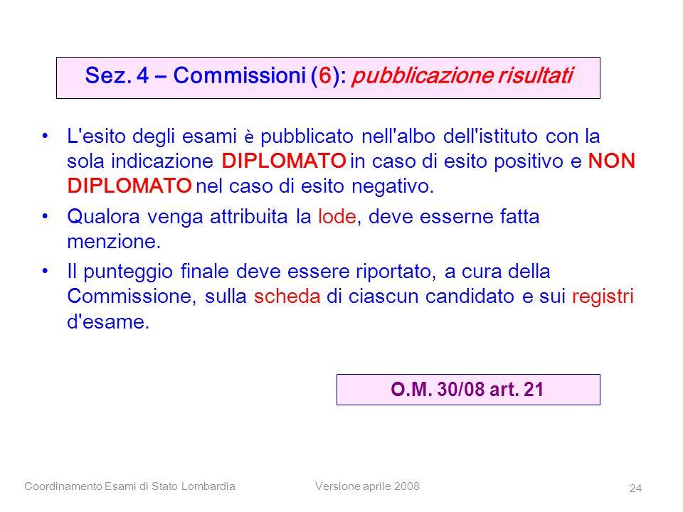 Sez. 4 – Commissioni (6): pubblicazione risultati