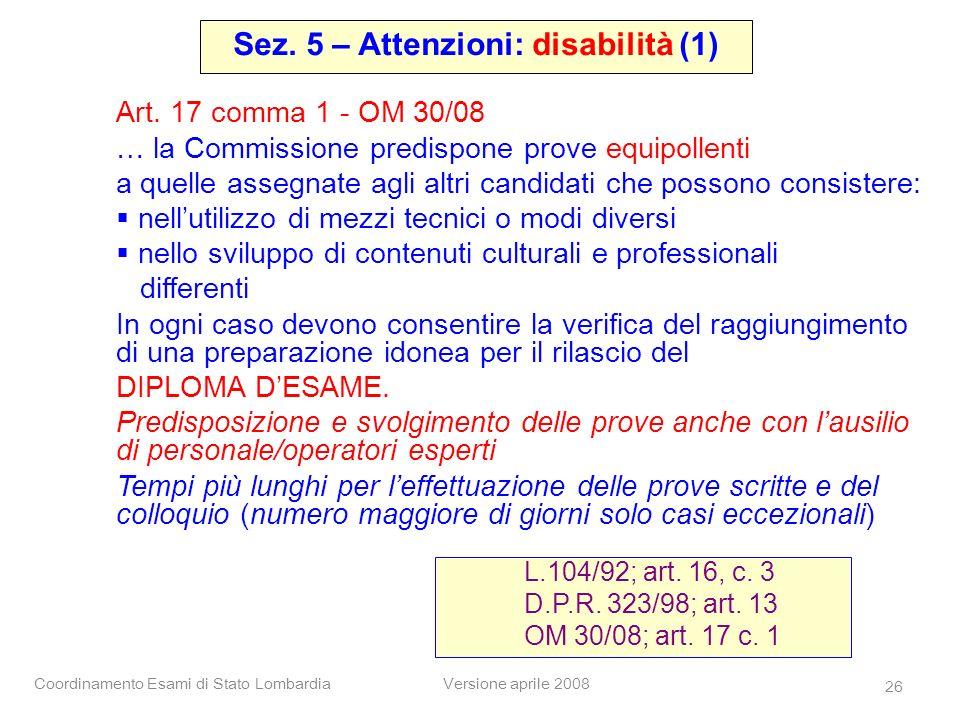 Sez. 5 – Attenzioni: disabilità (1)