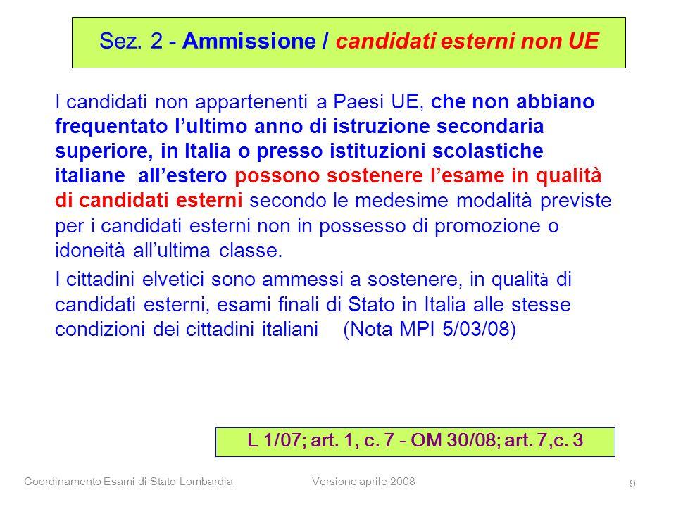 Sez. 2 - Ammissione / candidati esterni non UE