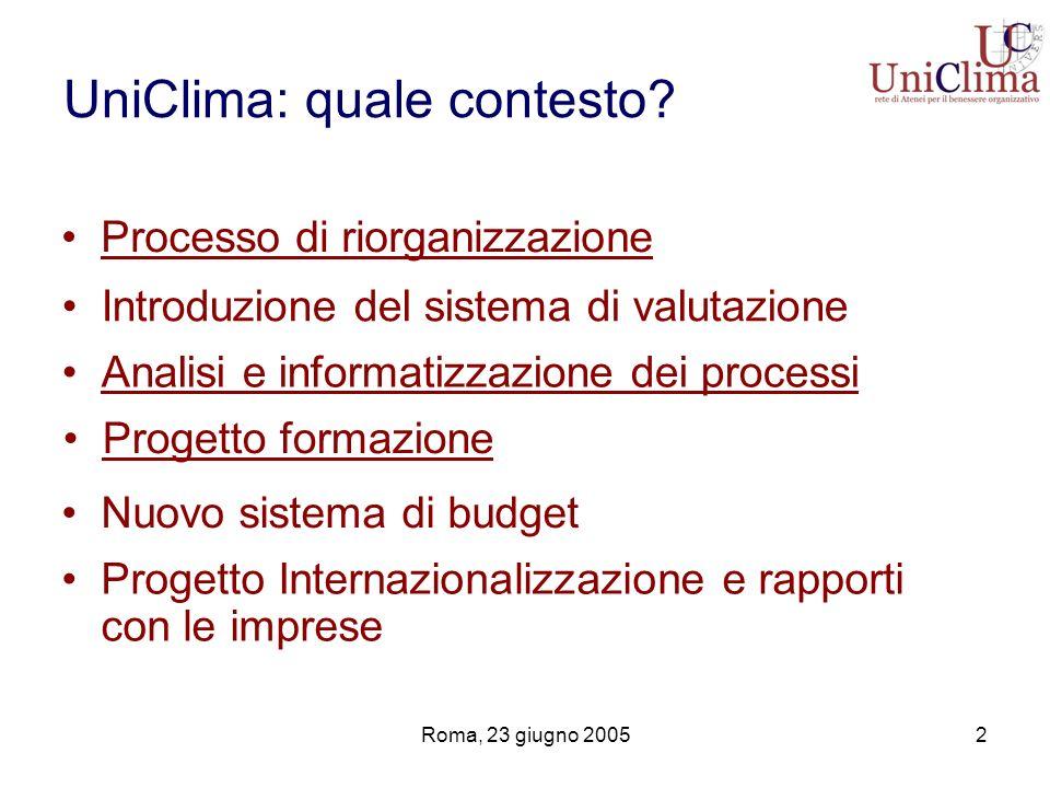 UniClima: quale contesto