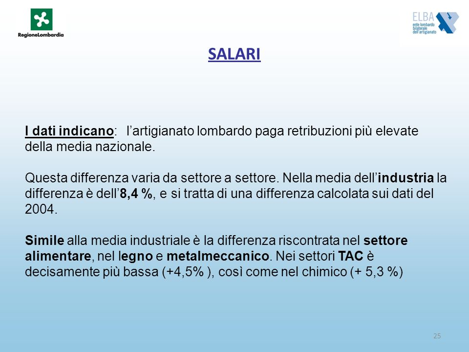 SALARI I dati indicano: l'artigianato lombardo paga retribuzioni più elevate della media nazionale.