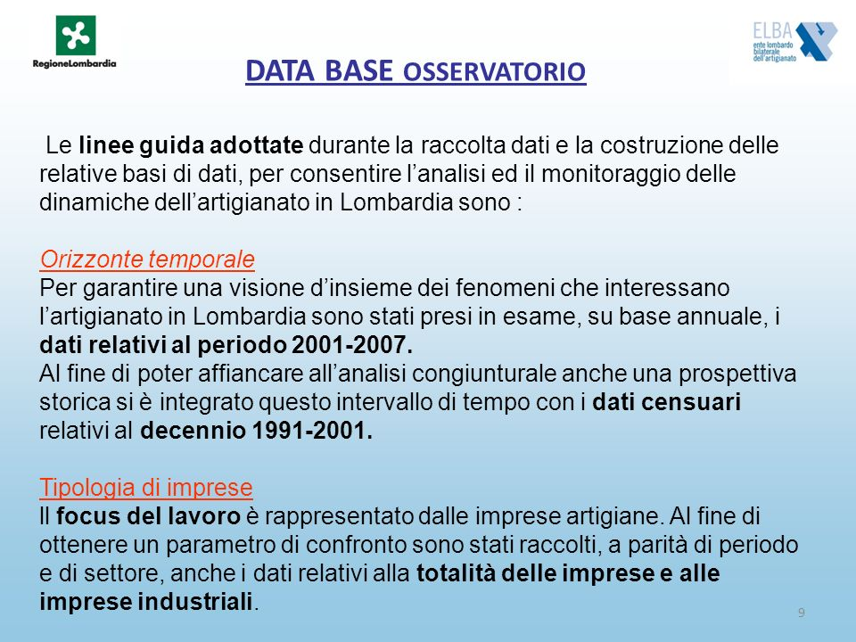 DATA BASE OSSERVATORIO