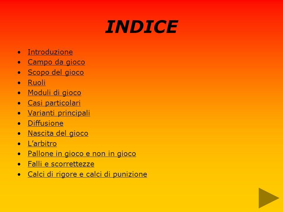 INDICE Introduzione Campo da gioco Scopo del gioco Ruoli