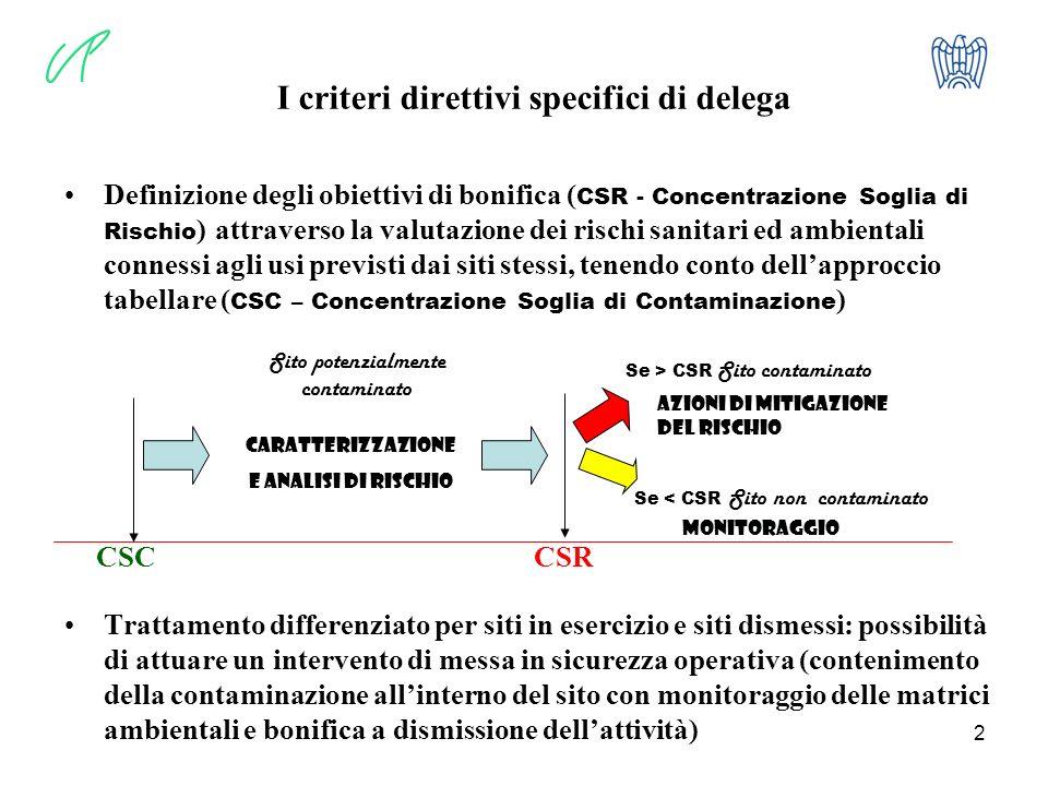 I criteri direttivi specifici di delega