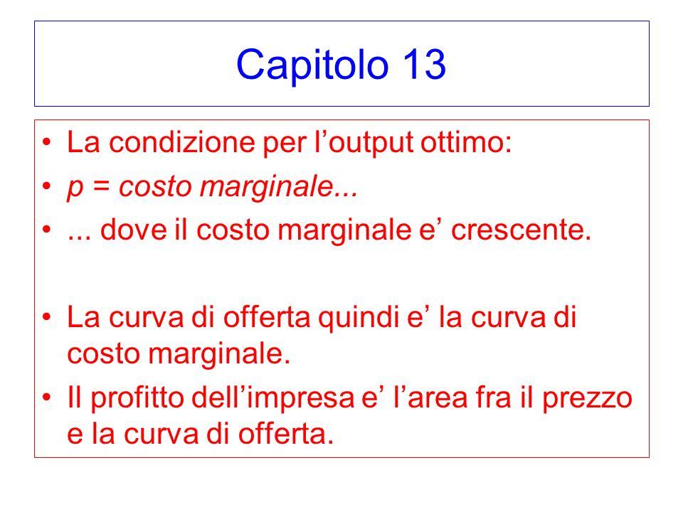 Capitolo 13 La condizione per l'output ottimo: p = costo marginale...
