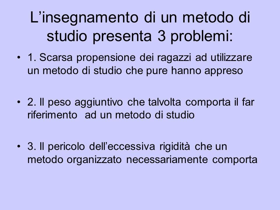 L'insegnamento di un metodo di studio presenta 3 problemi: