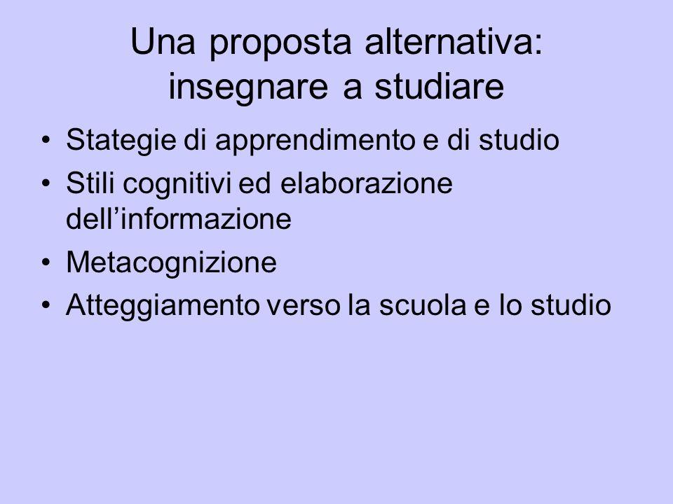 Una proposta alternativa: insegnare a studiare