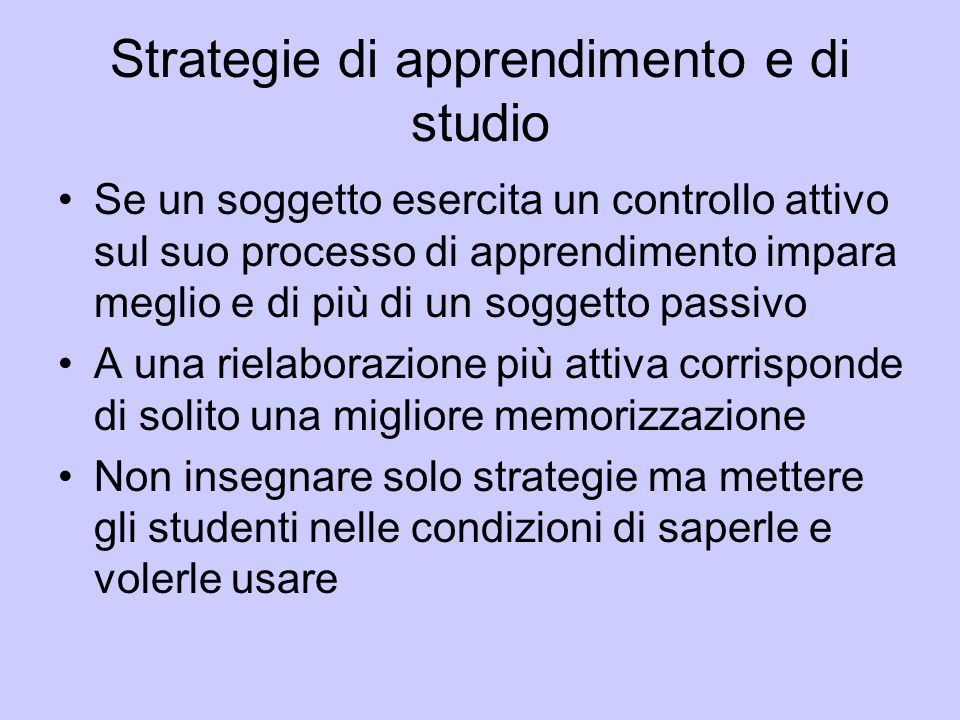 Strategie di apprendimento e di studio