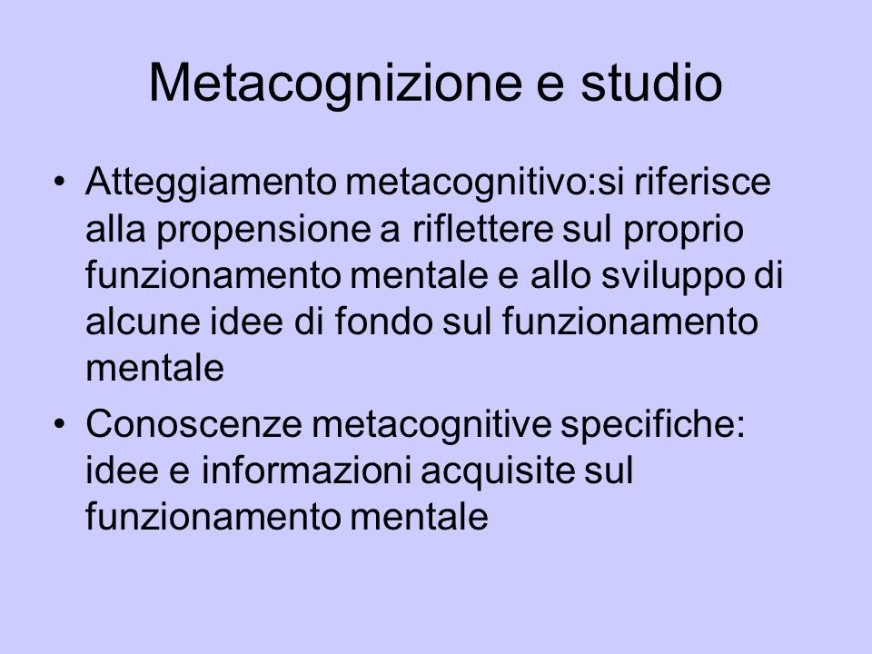 Metacognizione e studio