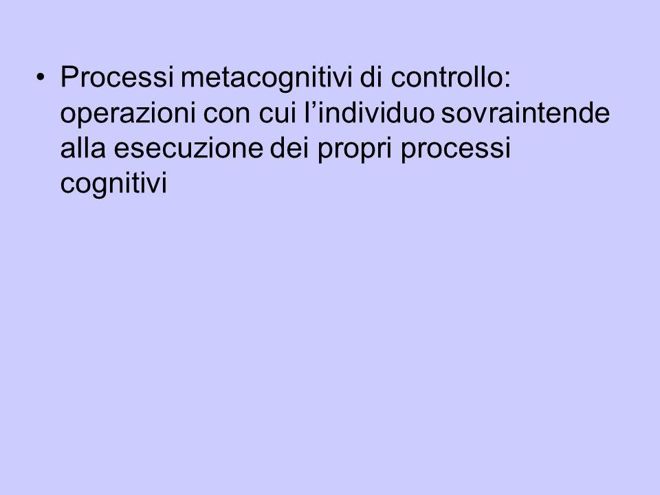 Processi metacognitivi di controllo: operazioni con cui l'individuo sovraintende alla esecuzione dei propri processi cognitivi