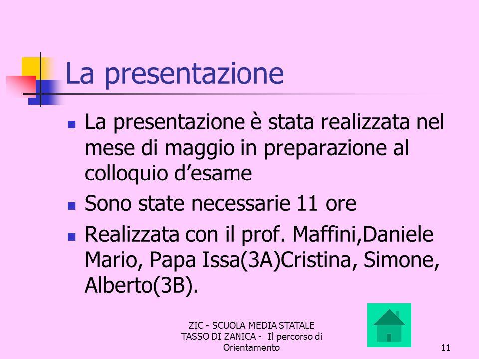 La presentazione La presentazione è stata realizzata nel mese di maggio in preparazione al colloquio d'esame.