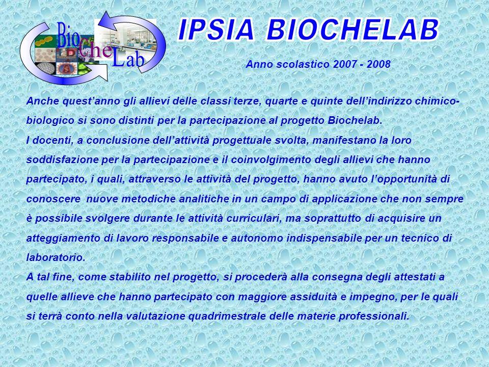 IPSIA BIOCHELAB B C L io he ab Anno scolastico 2007 - 2008