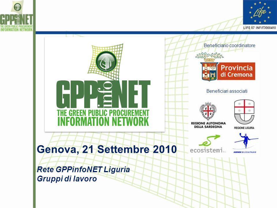 Genova, 21 Settembre 2010 Rete GPPinfoNET Liguria Gruppi di lavoro