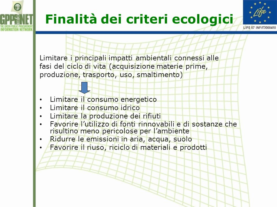Finalità dei criteri ecologici