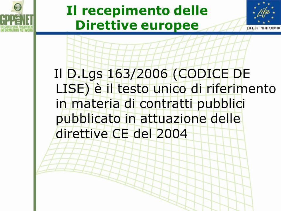 Il recepimento delle Direttive europee