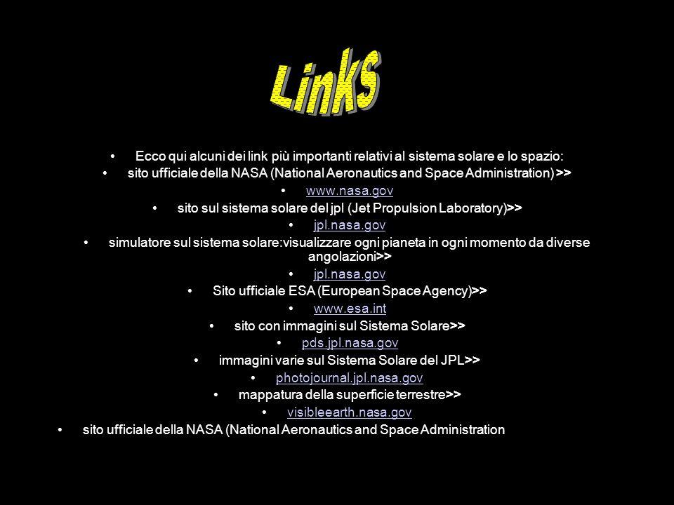 Links Ecco qui alcuni dei link più importanti relativi al sistema solare e lo spazio:
