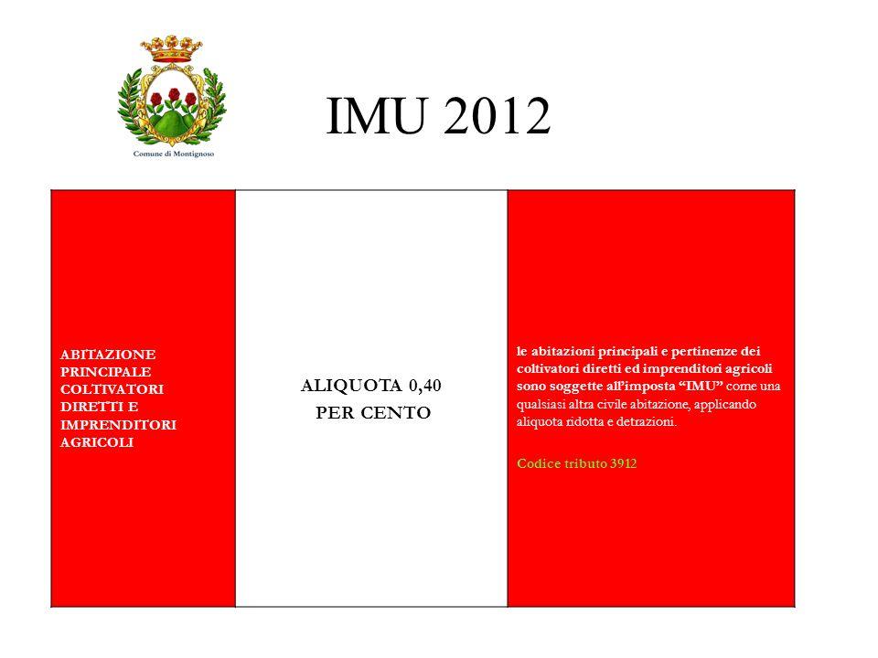 IMU 2012 ABITAZIONE PRINCIPALE COLTIVATORI DIRETTI E IMPRENDITORI AGRICOLI. ALIQUOTA 0,40. PER CENTO.