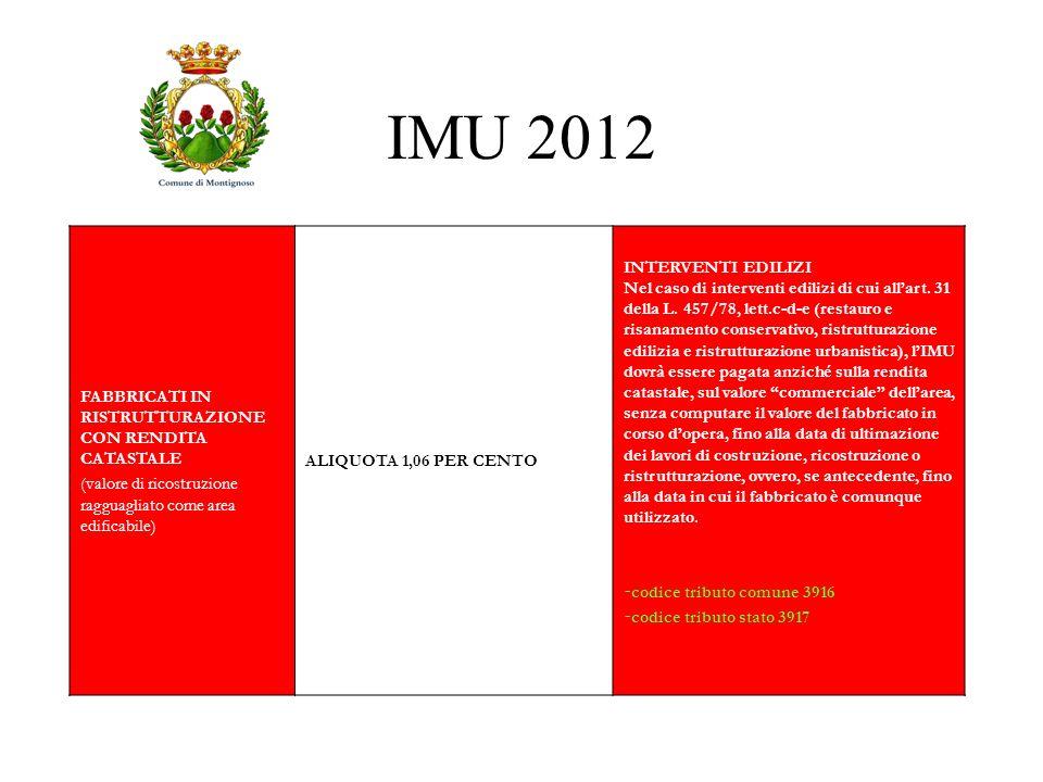 IMU 2012 FABBRICATI IN RISTRUTTURAZIONE CON RENDITA CATASTALE