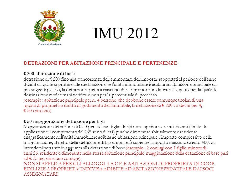 IMU 2012 DETRAZIONI PER ABITAZIONE PRINCIPALE E PERTINENZE