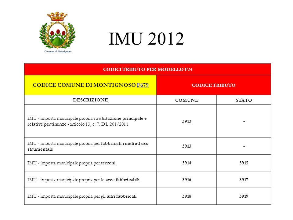 CODICI TRIBUTO PER MODELLO F24 CODICE COMUNE DI MONTIGNOSO F679