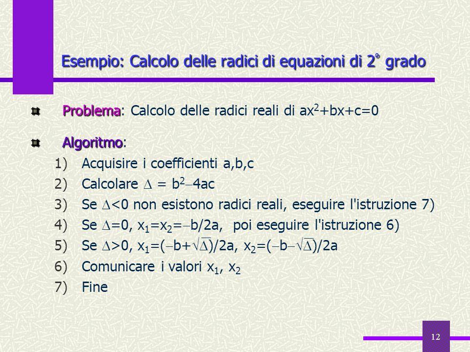 Esempio: Calcolo delle radici di equazioni di 2° grado