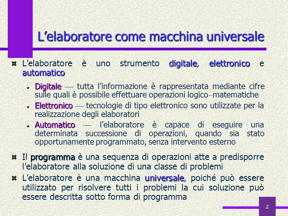 L'elaboratore come macchina universale
