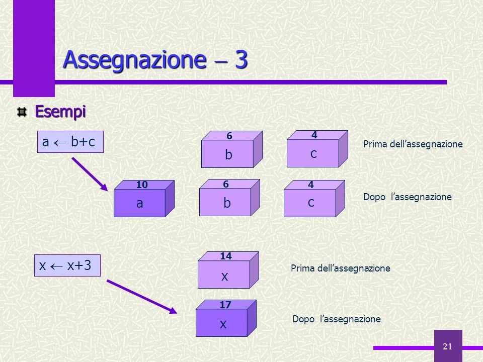 Assegnazione  3 Esempi a  b+c b c a b c x  x+3 x x 6 4