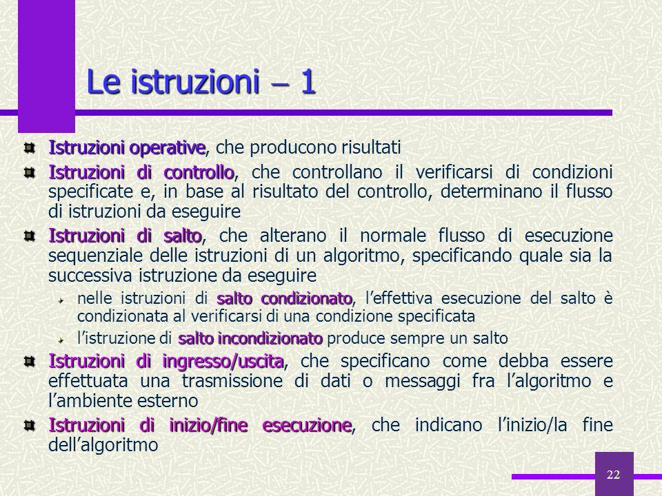 Le istruzioni  1 Istruzioni operative, che producono risultati