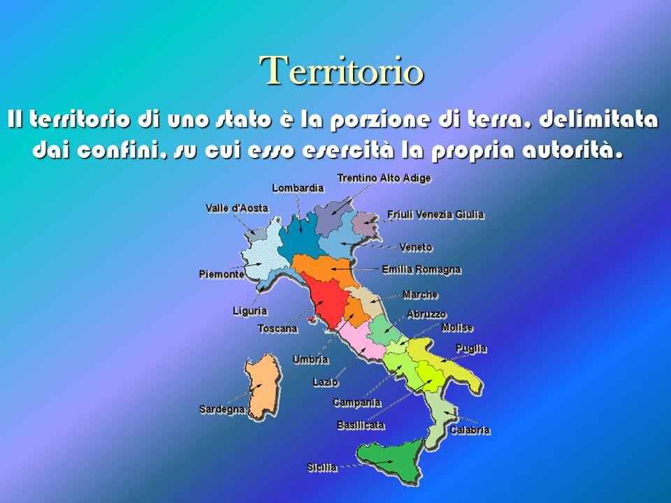 Territorio Il territorio di uno stato è la porzione di terra, delimitata dai confini, su cui esso esercità la propria autorità.