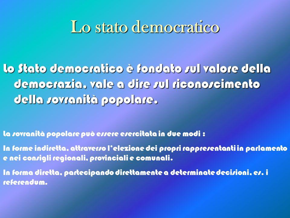 Lo stato democratico Lo Stato democratico è fondato sul valore della democrazia, vale a dire sul riconoscimento della sovranità popolare.