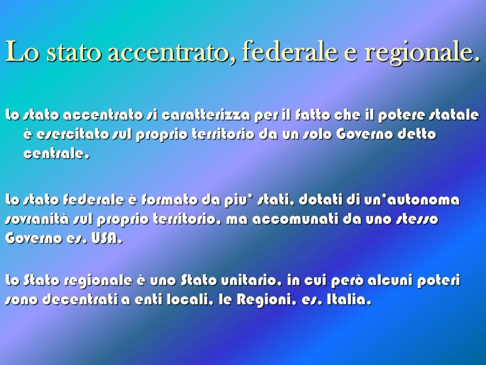 Lo stato accentrato, federale e regionale.