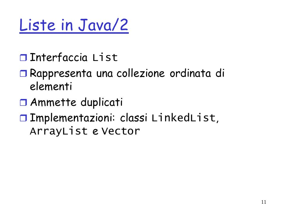 Liste in Java/2 Interfaccia List