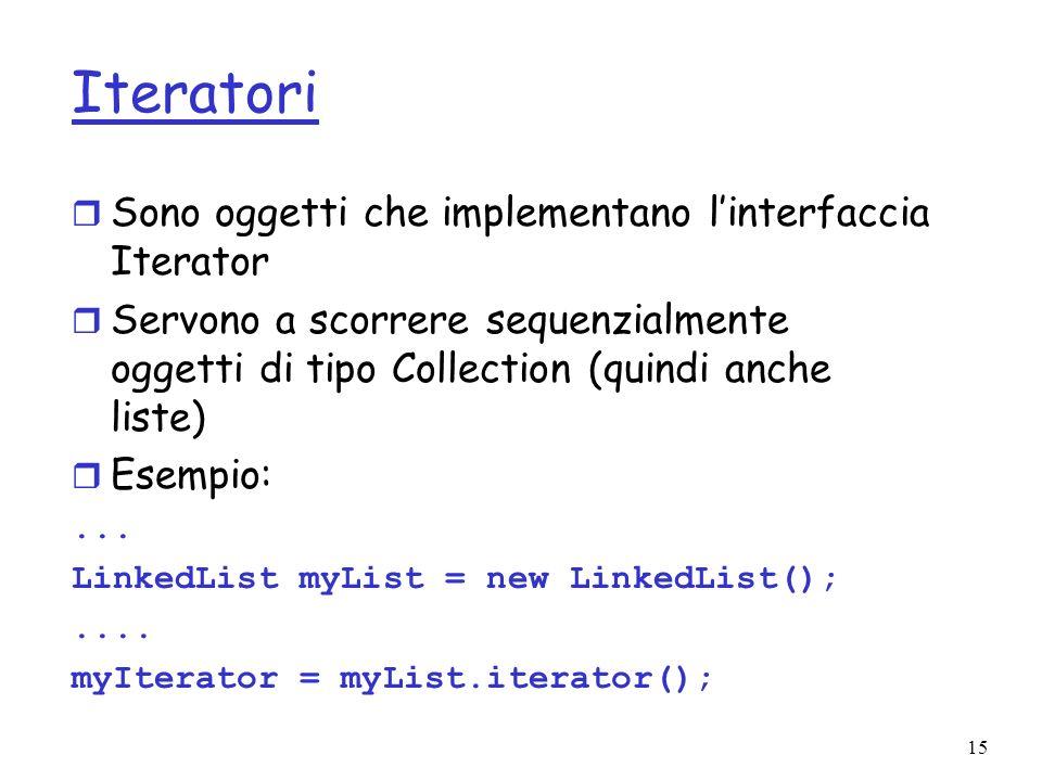Iteratori Sono oggetti che implementano l'interfaccia Iterator