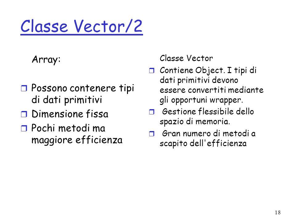 Classe Vector/2 Array: Possono contenere tipi di dati primitivi
