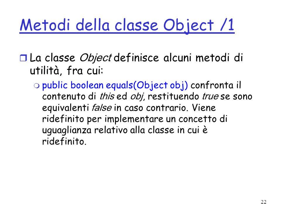 Metodi della classe Object /1