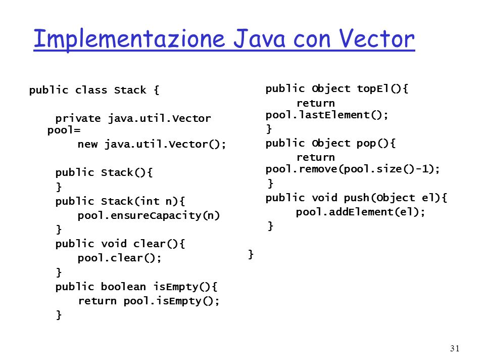 Implementazione Java con Vector
