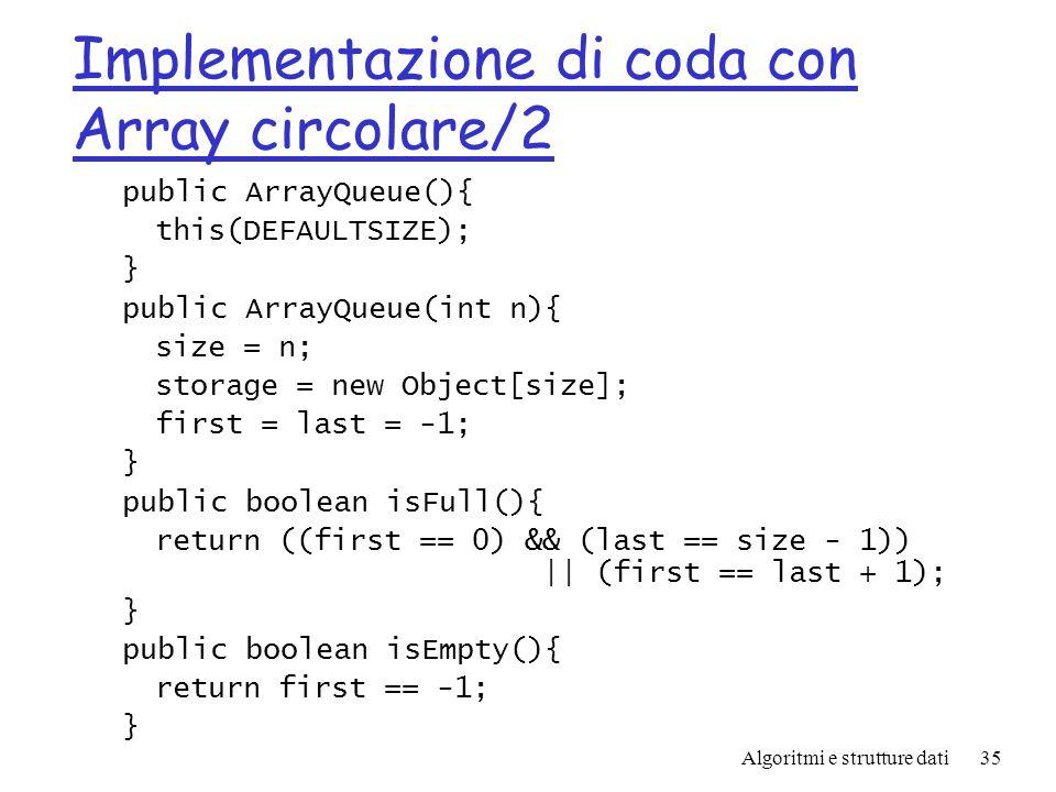 Implementazione di coda con Array circolare/2