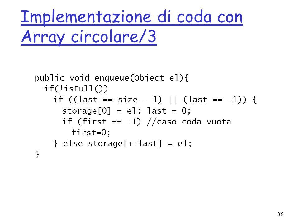 Implementazione di coda con Array circolare/3