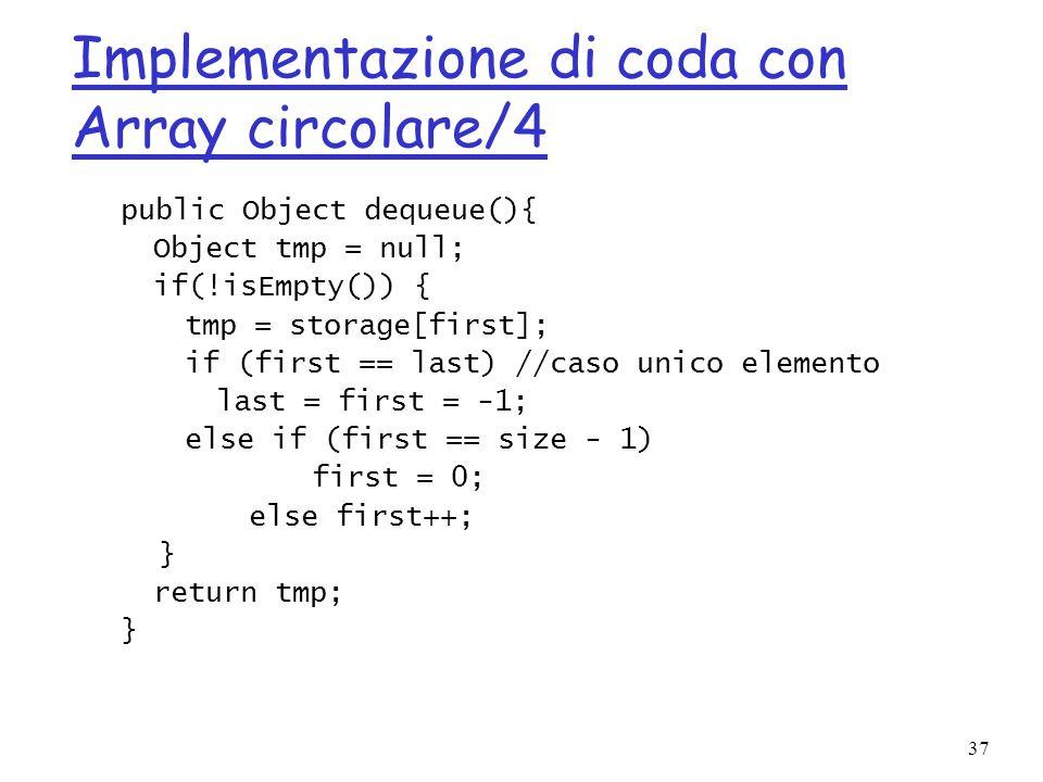 Implementazione di coda con Array circolare/4