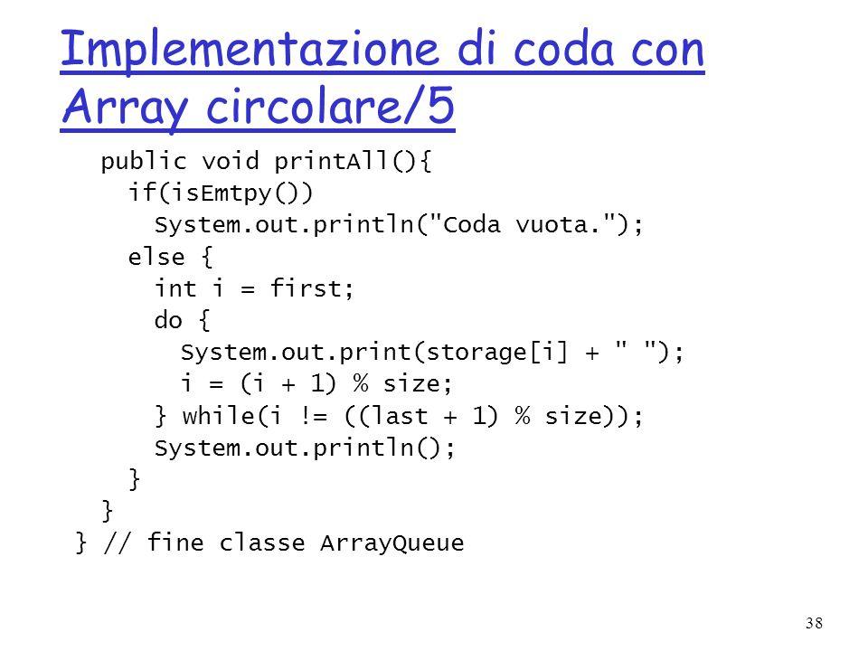 Implementazione di coda con Array circolare/5