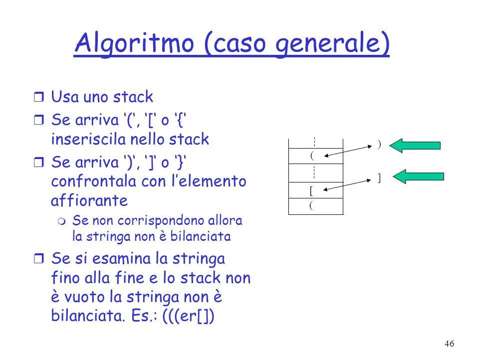 Algoritmo (caso generale)