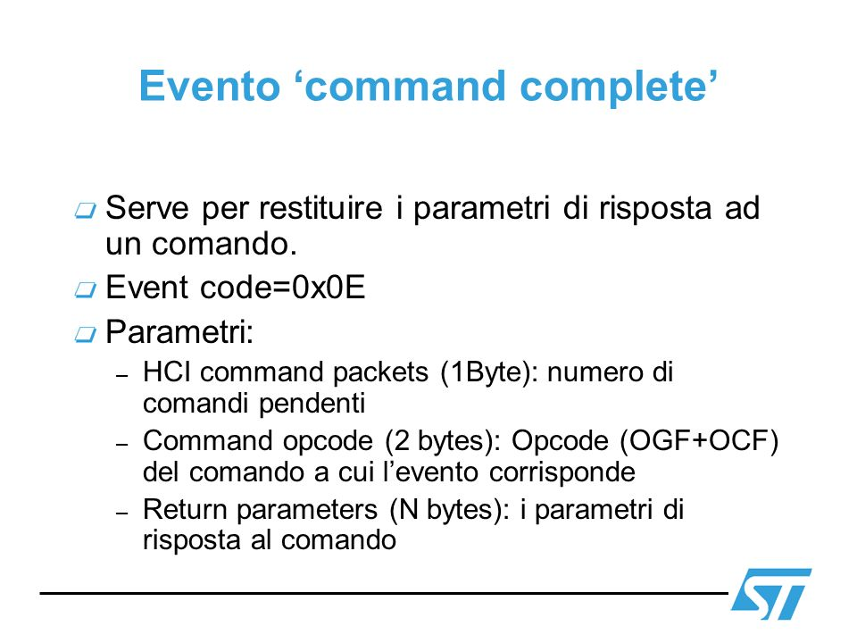 Evento 'command complete'